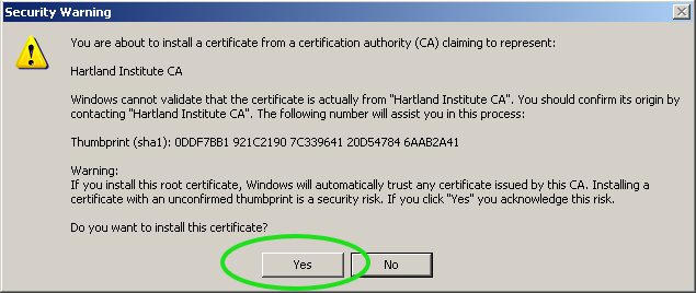 WinXP-OS Certificate Install Screen Shot