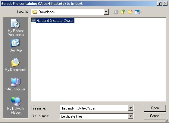 WindowsXP FireFox Security Certificate Screen Shot