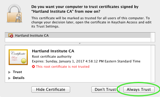 Security Certificate Install Screen Shot